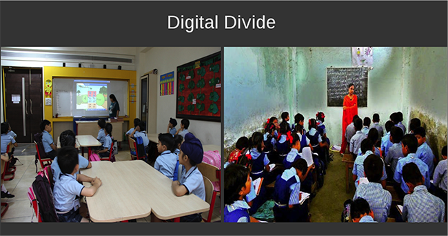 education and digital divide As more education reform efforts lean on technology to try to improve schools and lift student achievement, policy makers are grappling with a tricky reality: a digital divide in the era of digital natives.